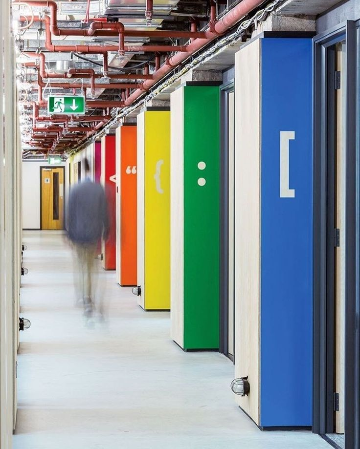 At a co-working space by Gensler for London-based tech startups, computer programming icons on multicolored panels indicate separate work areas. : Rueben Derrick. #architecture #interiors #design #interiordesign #startups #office #gensler @gensler_design... - Interior Design Ideas, Interior Decor and Designs, Home Design Inspiration, Room Design Ideas, Interior Decorating, Furniture And Accessories