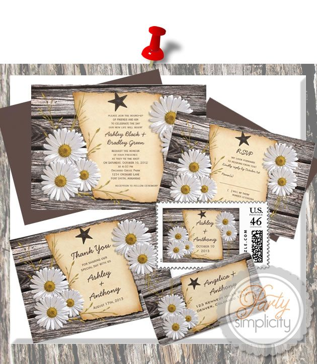 Party Simplicity Country Western Wedding Invitation - Rustic Country Daisy Wedding Suite #rustic #weddings