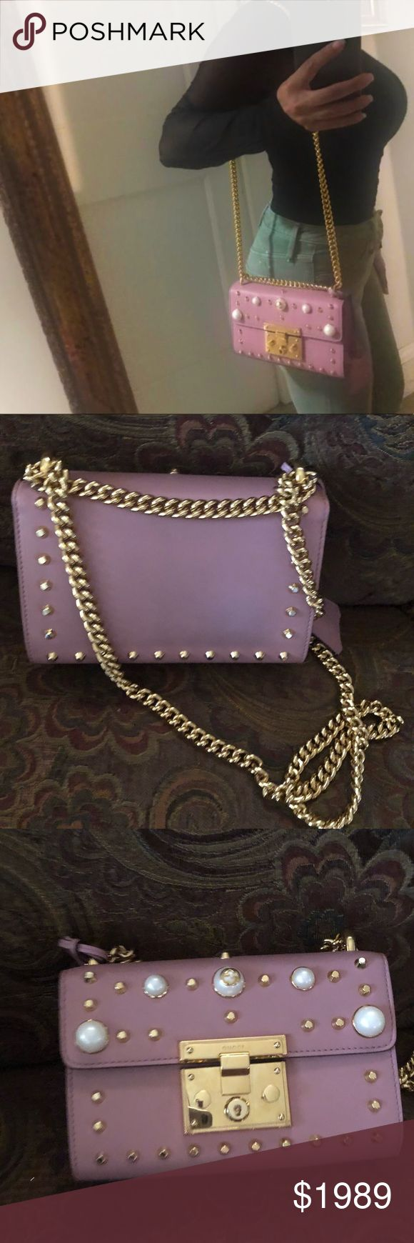 Gucci pink handbag gold chain purse bag pearl top Gucci pink studded padlock shoulder bag  purchased directly From Gucci.. only used for three months.. shows normal wear! Paid over $2,600 after taxes.. this bag is amazing!! I get compliments every time I wear it  100 percent authentic guaranteed.. no trades.. box and dust bag are not included... but this will be carefully wrapped and packaged Gucci Bags Shoulder Bags
