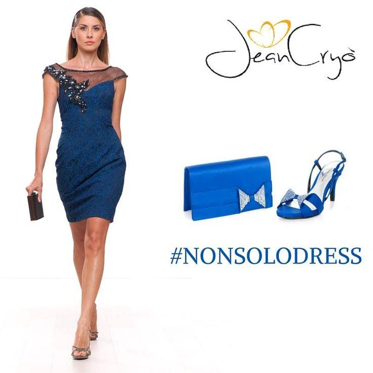 #NonSoloDress... Tubino in macramè #bluette con ricamo gioiello sul corpino. #Sandalo, tacco 8 e #pochette entrambi in raso con motivo di fiocco in strass.#blu #blue #collezione #BiancaBrandi #ShoesandBags #dress #look #outfit #shoes #bags #style #stile #moda