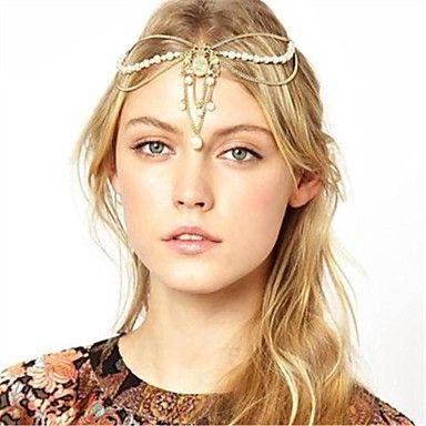 cristallo perla imitazione catena fascino pepita capelli elegante corona fascia – EUR € 4.94