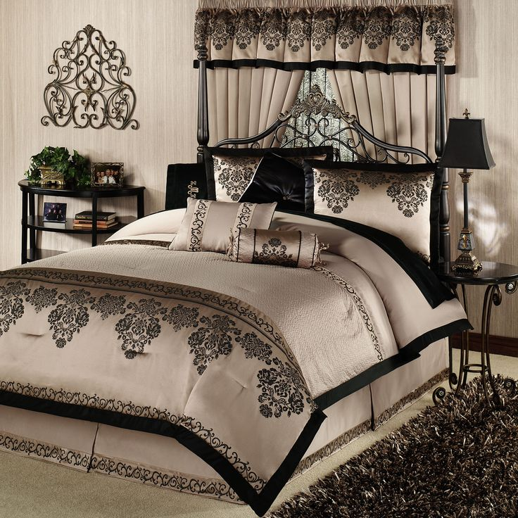 King size bed comforters sets overview details sizes for Black white taupe bedroom
