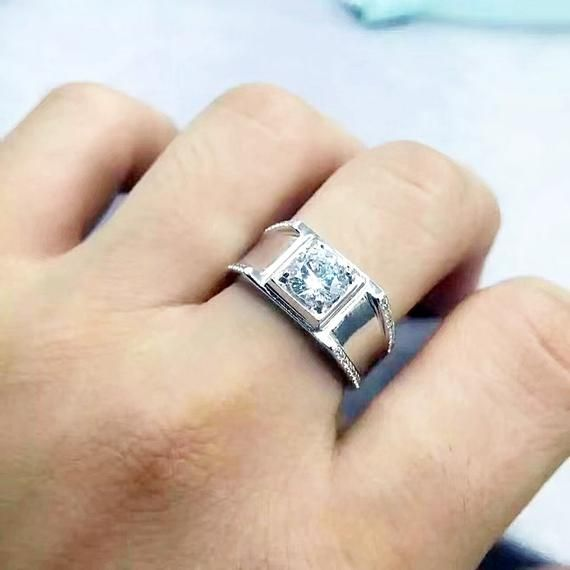 1 Carat Mens Wedding Band Ring Male Wide Band Ring Male Engagement Ring Promise Ring Anniversary Ring Man Made Diamond Gift For Him Rings Mens Wedding Bands Mens Wedding Bands