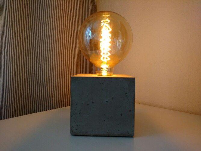 Simple Beton Lampe Industriestyle mit Vintage Gl hbirne DIY