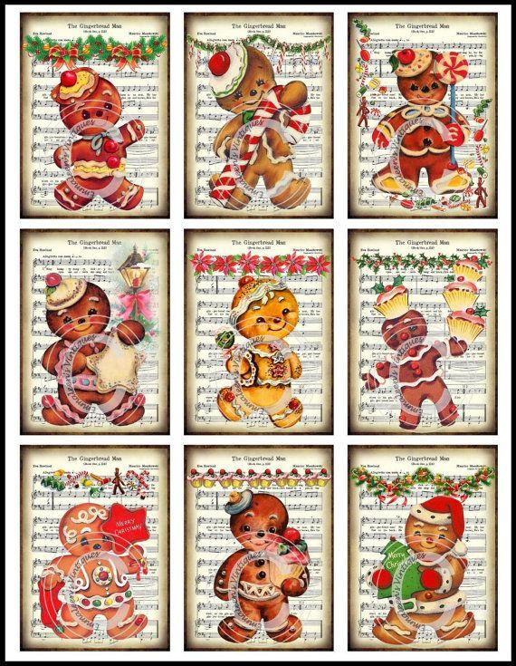 Vintage Grunge Retro Gingerbread Men by emmaleensvintiques on Etsy