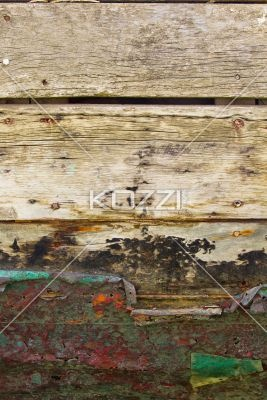 wooden log and rusty metal. - Detailed shot of a rusty metal nailed on wooden log.