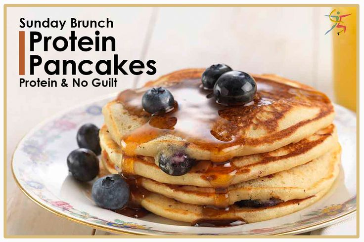 Sunday brunch: blueberry pancakes, protein, and no guilt. It's reality! #ProteinPancakes #blueberry #protein