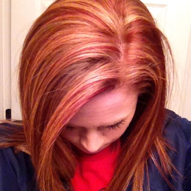 Natural red hair with copper red and blonde highlights ...