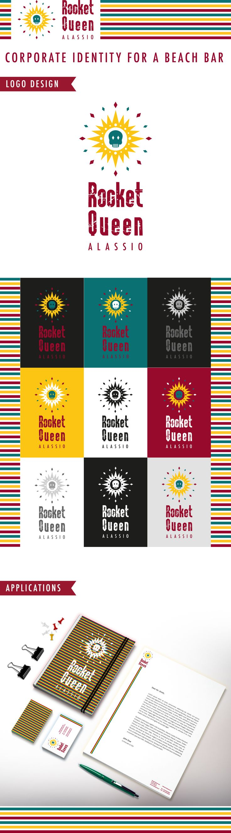 Rocket Queen Beach Bar Corporate Identity #corporate #identity #beach #bar #rocket #queen #flat #skull #fancy #stationary #logo #design #rnr