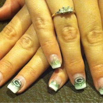 Green Bay Packers acrylic nails done by Diane @ Silver nails - Yelp