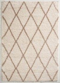 Flauschiger Teppich in Creme und Taupe mit Rautenmuster in Beni Ourain Optik. Größe 120x170 cm. Jetzt günstig shoppen auf www.klick-vinyl-boden.de