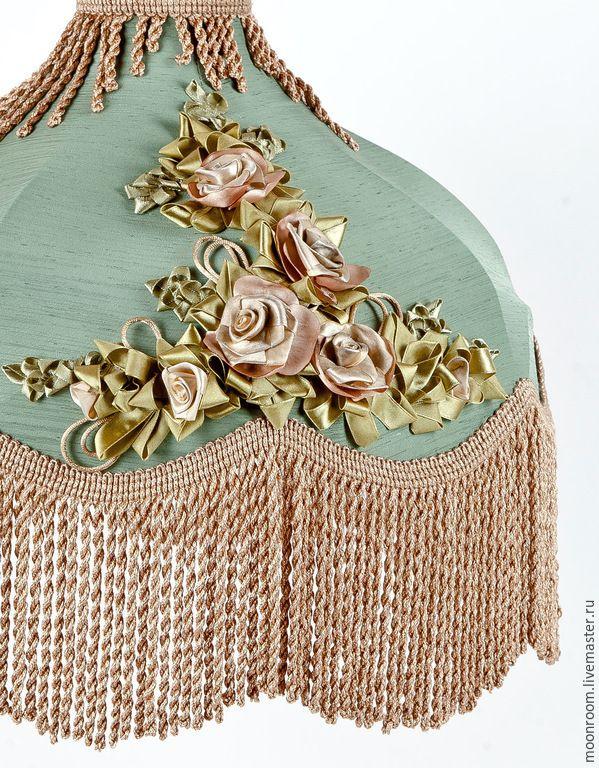 Vintage lampshade with ribbon embroidery and fringe | Купить Винтажные абажуры с вышивкой - бледно-сиреневый, подарок на любой случай, интерьерная композиция