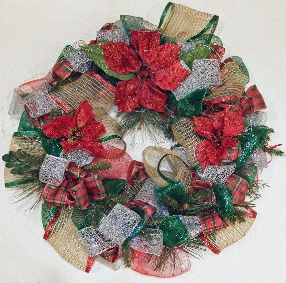 Poinsettia Wreath Deco mesh wreath Red and Green wreath