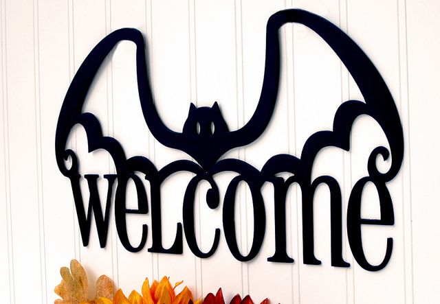 Halloween Welcome Bat Metal Sign - Holiday Sign, Halloween Decor - Closeup Photo 1 by RefinedInspirations, via Flickr