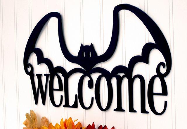 Halloween Welcome Bat Metal Sign - Holiday Sign, Halloween Decor - Closeup Photo 1 by RefinedInspirations, via Flickr