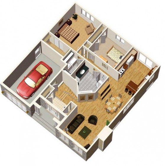 Plano de casa de campo de dos dormitorios casa de campo for Planos de casas de 2 habitaciones