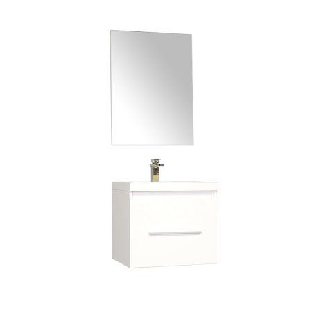 Photo Image Ripley inch Single Wall Mount Modern Bathroom Vanity Set in White with Mirror