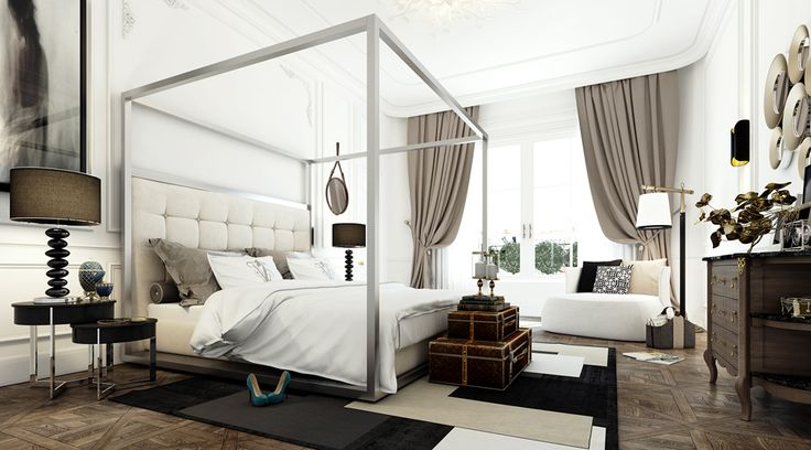 "Parisian Apartment - upholstered headboard in steel ""cube"" canopy bed, unique bedside table and dresser, great floor lamp, nice lamp shades, french doors, drapes hung behind trim, black/gray/white/tan rug"