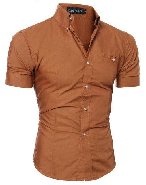 Men's Luxury Slim Fit Short Sleeved Dress Shirt - 9 Different Colors!