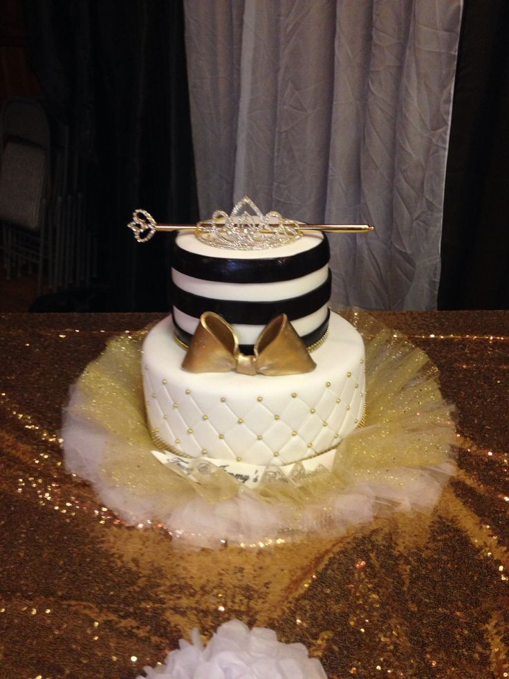 Black, white and gold baby shower cake with a princes crown and tutu ❤️ Adorable www.nomonausea.con baby shower cake