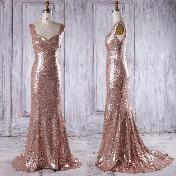 2016 Rose Gold Bridesmaid Dress with Train, Luxury Evening Open Back, Long Metallic Sparke Wedding Dress Mermaid Floor Length (GQ159C)