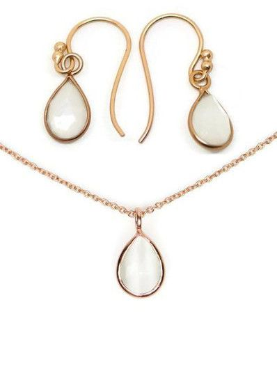 18k Rose Gold Sterling Silver Petite White Moonstone Pear Necklace & E – Sparkle & Jade