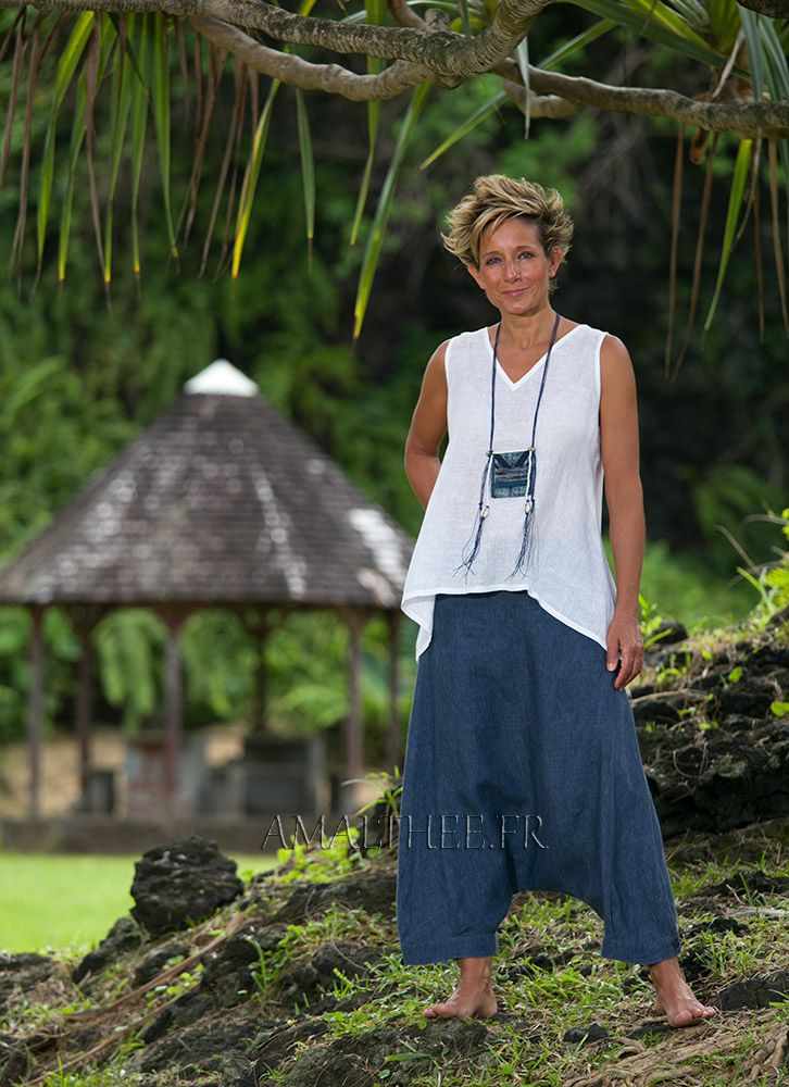 Women's sumer time apparel: white linen gauze little Top and sarouel pants…
