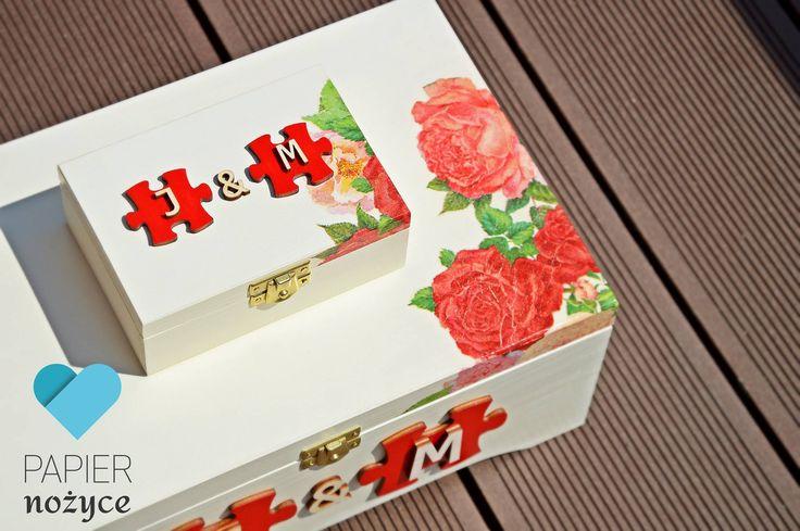 Kuferek na koperty ślubne oraz pudełko na obrączki wykonane na zamówienie klientki :) http://papier-nozyce.pl/pl/i/Zamow-swoj-wzor/12