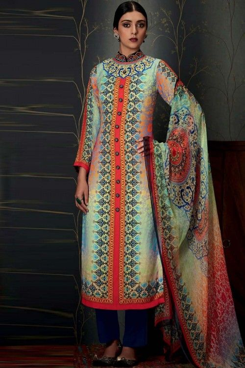 Multi Color Pure Pashmina Trouser Suit With Dupatta Multi Color printed Pure Pashmina semi stitch trouser suit.Chinese collar, Below knee length, quarter sleeves kameez. Blue pure pashmina trouser. Multi Color chiffon dupatta. Product are available in 34,36,38,40 sizes.    http://www.andaazfashion.co.uk/salwar-kameez/trouser-suits