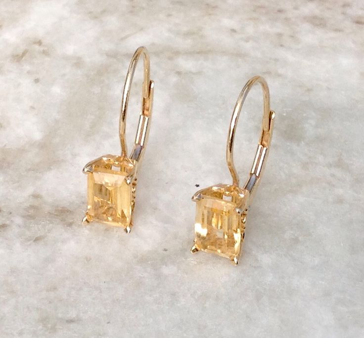 Citrine Gold Earrings, Leverback Citrine Earrings,14k Citrine Earrings, November Birthstone Earrings, Vintage Gold Earrings by MasalaJewelry on Etsy