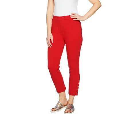 Susan Graver Weekend French Knit Capri Pants w/ Novelty Buttons(52)