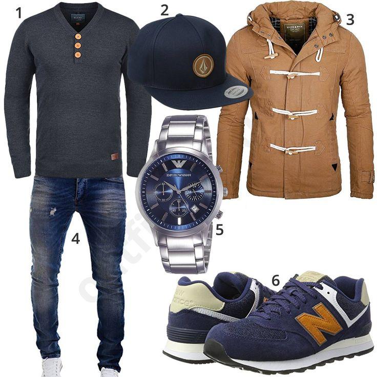 Cooler Herren-Style mit blauem Blend Pullover, Volcom Snapback Cap, hellbrauner Young & Rich Jacke, Merish Jeans, Emporio Armani Uhr und New Balance Sneakern.