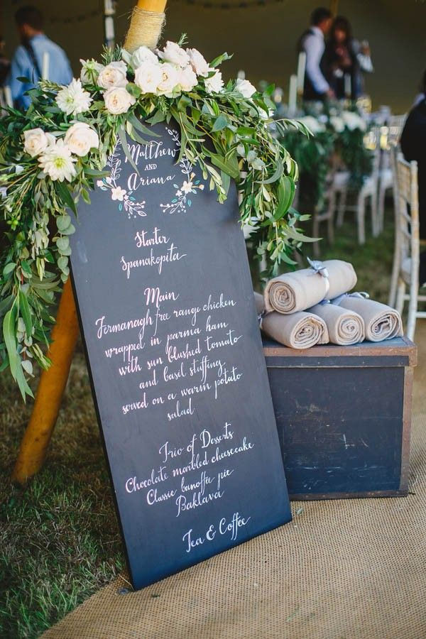 Chalkboard wedding signage + floral garland   Gather and Tides Photography