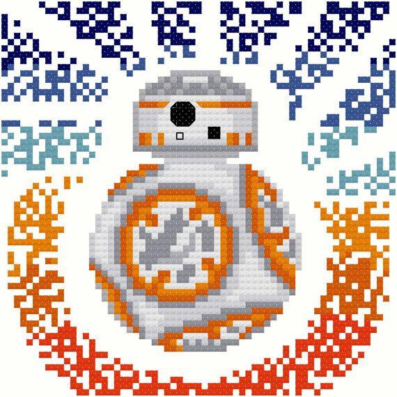 Star Wars BB-8 Modern Cross Stitch Pattern PDF by FromVtoYou