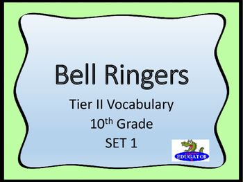Bellringers - Tier Two Vocabulary in Context - Grade 10 Set 1. Tenth grade tier II vocabulary words set in context in informational paragraphs. Students should use context clues or contextual hints to figure out the meaning of unknown words. First of three sets. Designed for Tenth grade, and as a review for 11th and 12th grade. - HappyEdugator