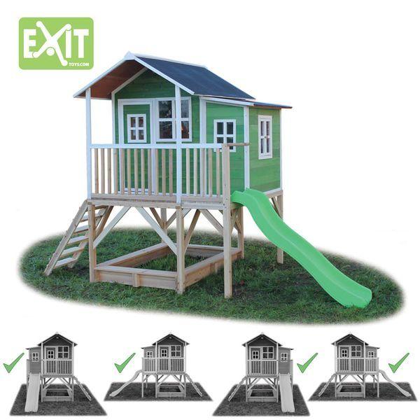 Exit Loft 550 Vihreä leikkimökki liukumäellä ja terassilla  #pihaleikit #leikkimökki #leikkimökit