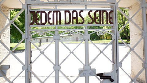 """Gate to Buchenwald concentration camp, translation: """"To each what they are due"""". BBC Radio 4 - Germany: Memories of a Nation... Thumbs up to Neil MacGregor! This is a fascinating and accessible series on the history of Germany (aber wo liegt Deutschland?) which smushes together beautifully with the exhibition at the British Museum and his book. I'm really getting into the whole """"history in objects"""" approach as a way of getting a good overview of a period or theme."""