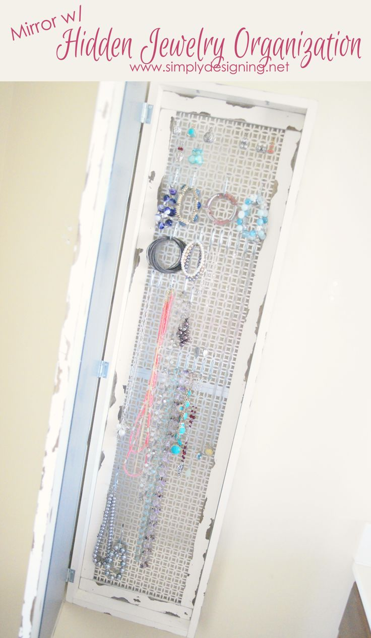 Mirror w/ Hidden Jewelry Organization | this is sooooooo cool!!  | #diy #homeimprovement #homedecor