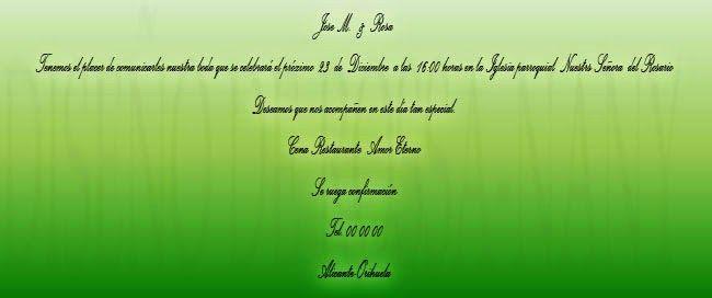MUNDO ROSSA -TARGETAS DE BODA: tarjetas de boda -tonos verdes