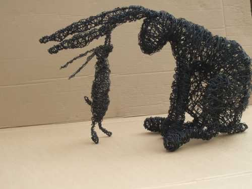 Mild steel wire on a steel armature Love/Affection sculpture by artist Julieann Worrall Hood titled: 'Big and Little Wire Hares'