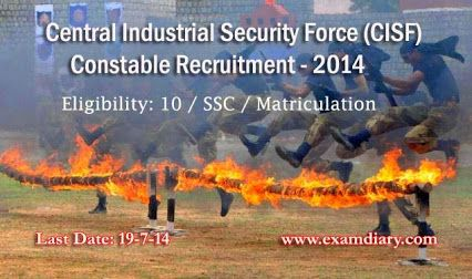 Central Industrial Security Force (CISF) released recriutment notifcation for 1203 Constable/ Driver Posts. Eligible candidates can apply apply through given format. CISF - Constable / Driver Recruitment Notification 2014  Central Industrial Security Force (CISF) released recriutment notifcation for 1203 Constable/ Driver Posts. Eligible candidates can apply apply through given format. CISF - Constable / Driver Recruitment Notification 2014
