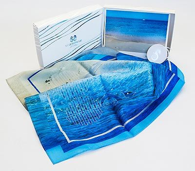 Sea Horse -Footprints  Picture -Bunker Bay Western Australia  Let the footprints in the sand on this image take you to a sandy beach with crystal clear water.  This scarf will bring back memories of lazy summer days as you wrap up in it this winter. But light, cool silk can be worn in the summer too. It is a year round accessory of gorgeous blues that will brighten any outfit.  It is large enough to wrap around your hips in the summer to wear as a sarong and it looks great worn this...
