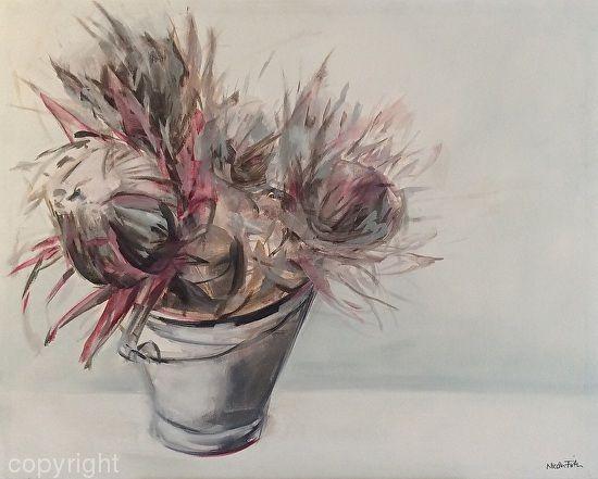 Proteas in Enamel Bucket by Nicola Firth Oil ~ 80cm x 1m