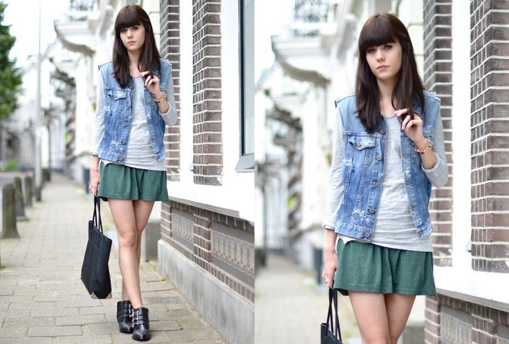 Give your spring look a cool touch with a sleeveless denim jacket!   Fashion   Shopping   Streetstyle   Blogger outfit  