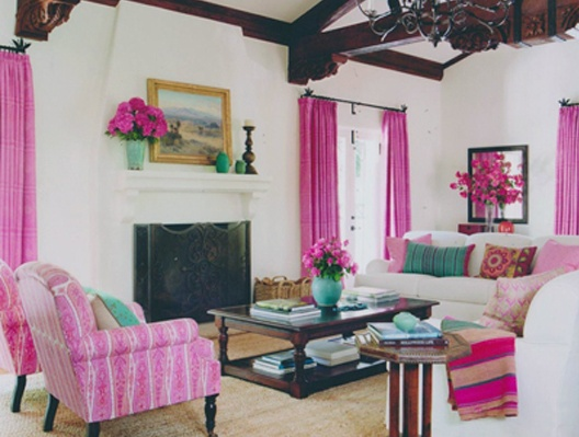 can't stop looking at this room by Schuyler Samperton - love the Raoul Textiles pink drapes and chairs.
