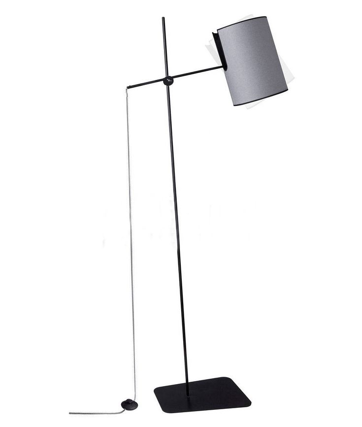 Slim Modern Black and Grey Floor Lamp with Tilting Shade
