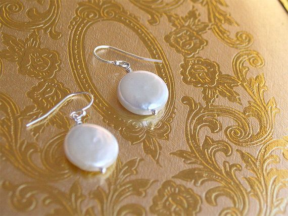 Coin Pearl Earrings  Sterling or Gold Filled  by FiveThirty, $16.00