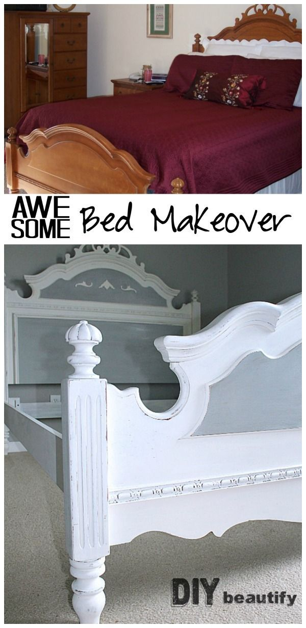 French country painted bed makeover | diy beautify