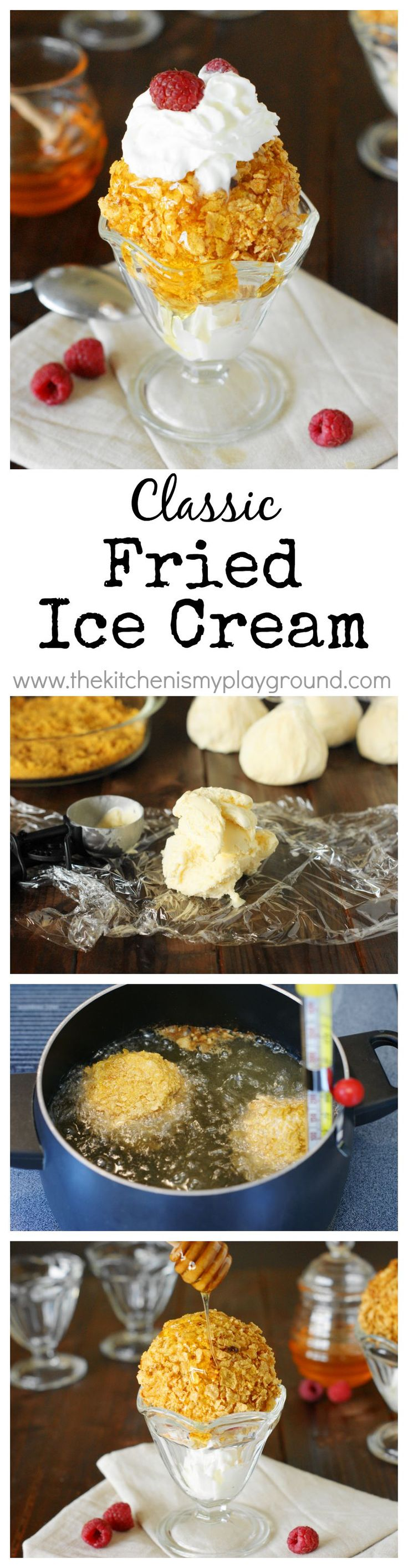 Fried Ice Cream ~ The perfect combination of crunchy on the outside, and cool & creamy on the inside.  Whip up this restaurant-style treat right at home!   www.thekitchenismyplayground.com