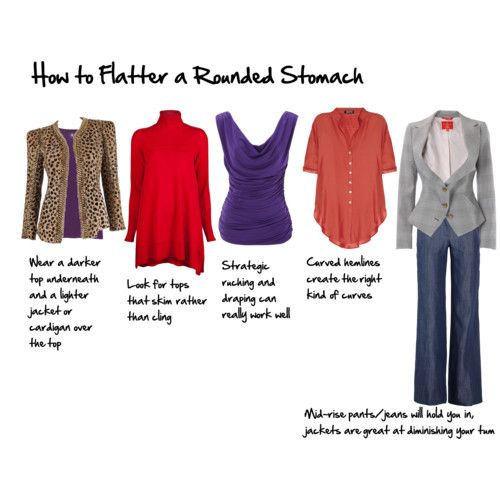 How to Flatter a Protruding Stomach: Clothes, Dress, Rounded Stomach, Fashion Tips, Closet, Wear, Body Shapes, Flatter, Style Tips